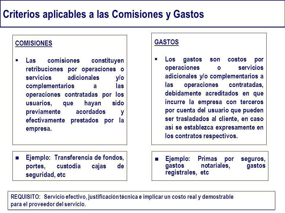 Criterios aplicables a las Comisiones y Gastos Ejemplo: Transferencia de fondos, portes, custodia cajas de seguridad, etc COMISIONES Las comisiones co