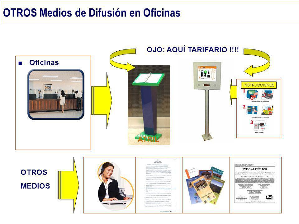 OTROS Medios de Difusión en Oficinas Oficinas OTROS MEDIOS OJO: AQUÍ TARIFARIO !!!! INSTRUCCIONES ATRIL
