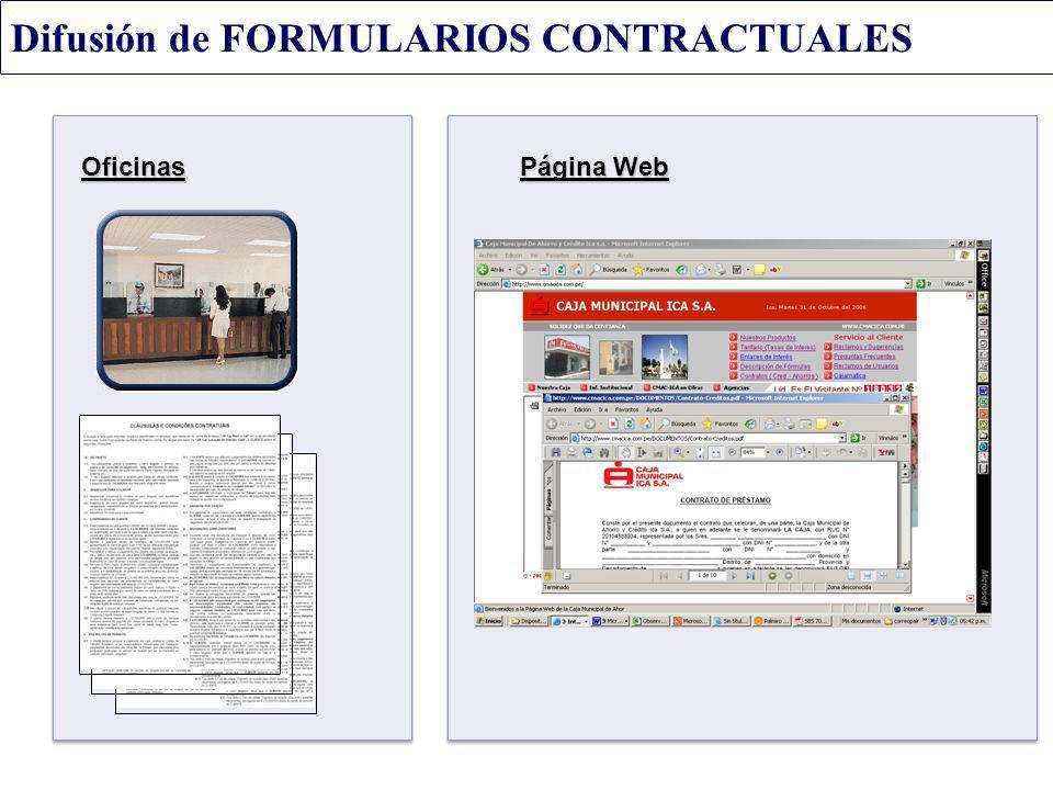 Difusión de FORMULARIOS CONTRACTUALES Oficinas Página Web