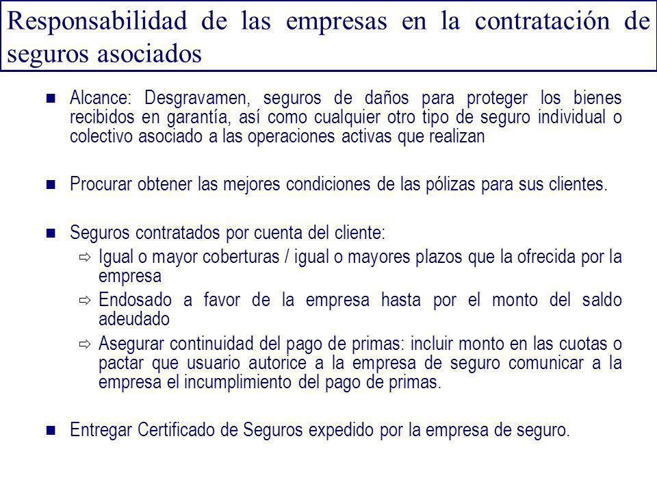 Responsabilidad de las empresas en la contratación de seguros asociados Alcance: Desgravamen, seguros de daños para proteger los bienes recibidos en g