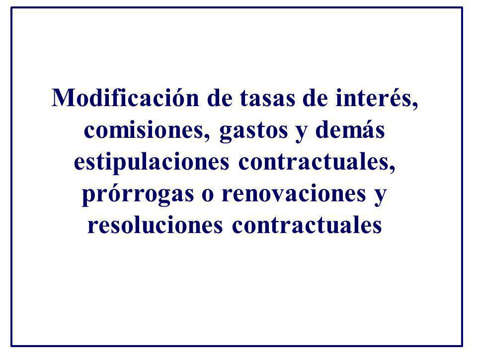 Modificación de tasas de interés, comisiones, gastos y demás estipulaciones contractuales, prórrogas o renovaciones y resoluciones contractuales