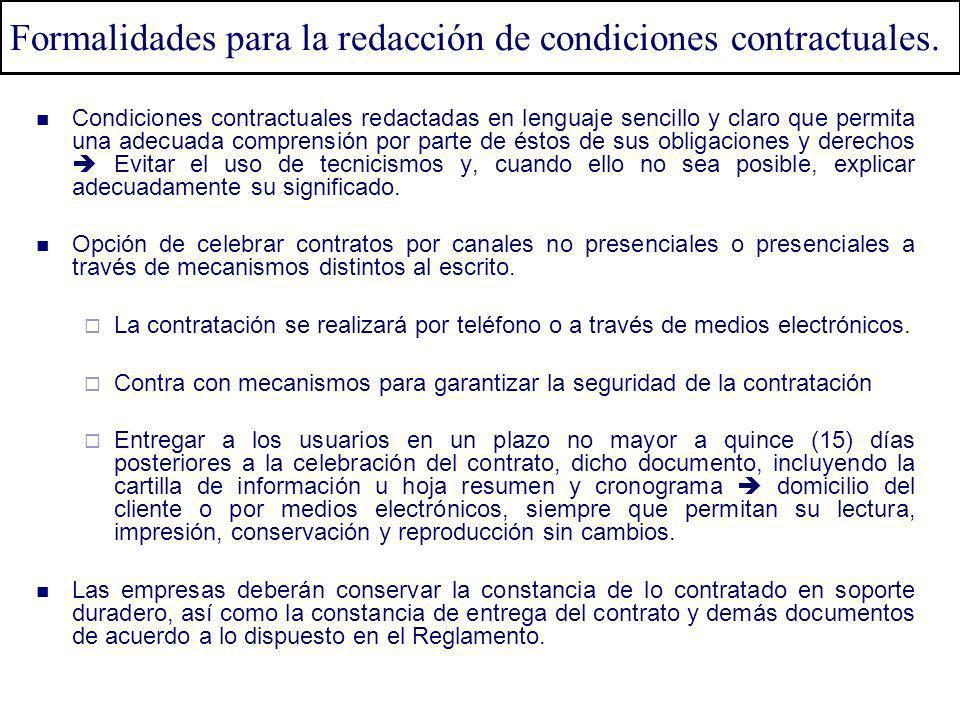 Condiciones contractuales redactadas en lenguaje sencillo y claro que permita una adecuada comprensión por parte de éstos de sus obligaciones y derech