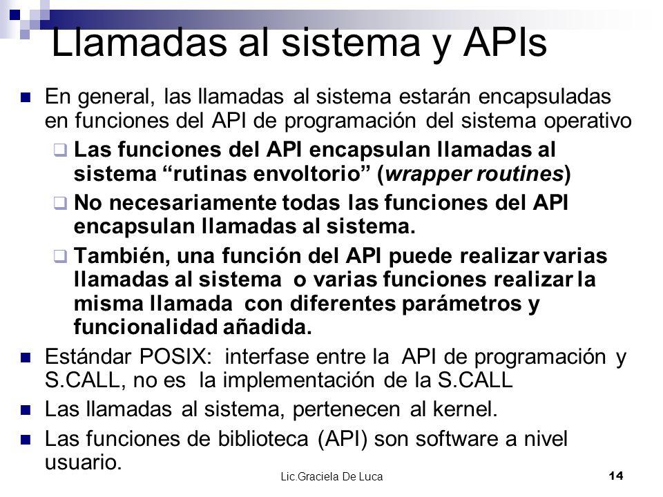 Lic.Graciela De Luca 14 Llamadas al sistema y APIs En general, las llamadas al sistema estarán encapsuladas en funciones del API de programación del s