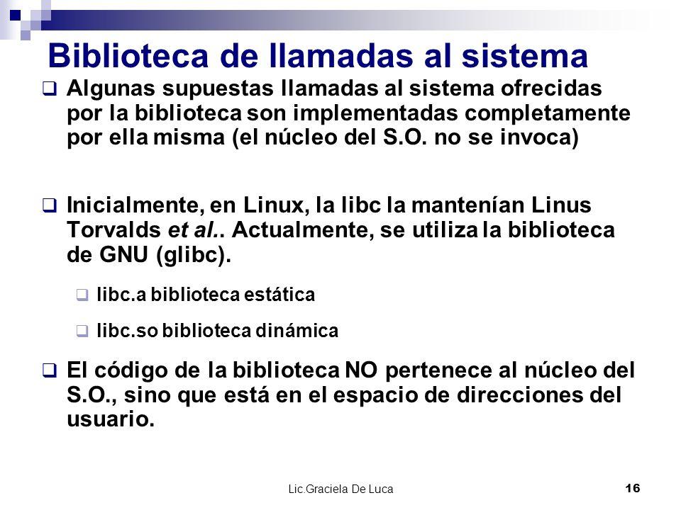 Lic.Graciela De Luca 16 Biblioteca de llamadas al sistema Algunas supuestas llamadas al sistema ofrecidas por la biblioteca son implementadas completa