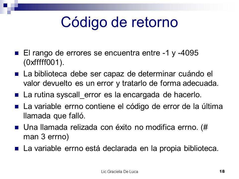 Lic.Graciela De Luca 18 Código de retorno El rango de errores se encuentra entre -1 y -4095 (0xfffff001). La biblioteca debe ser capaz de determinar c