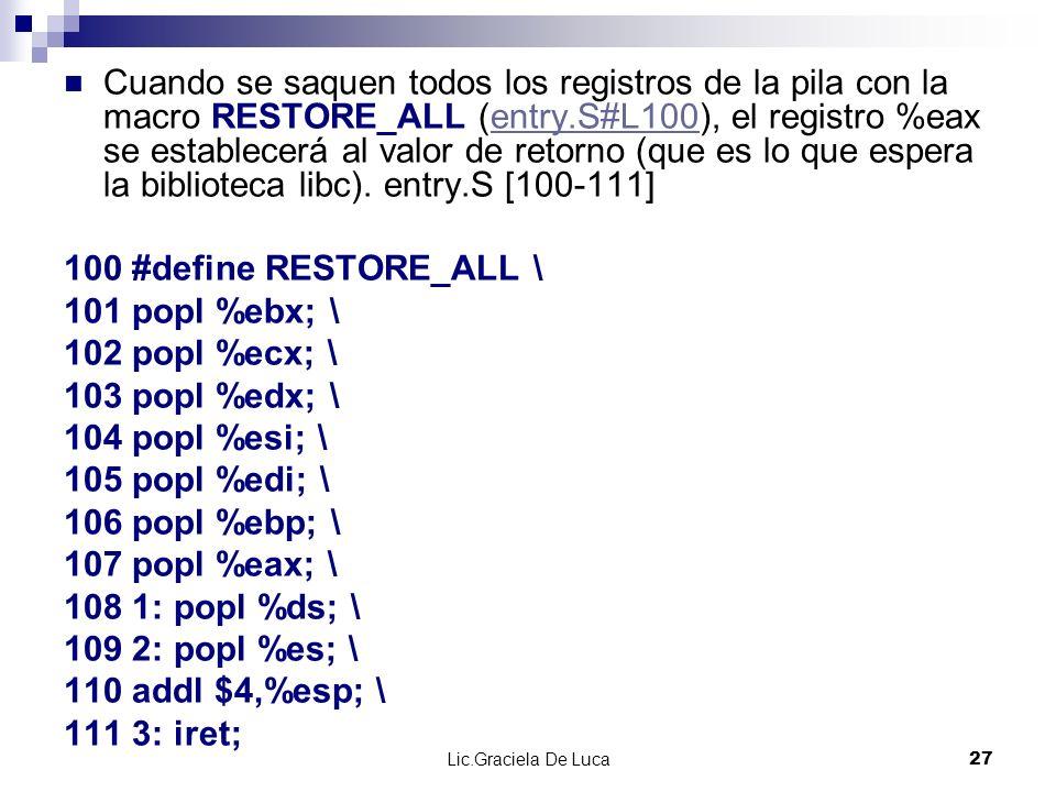 Lic.Graciela De Luca 27 Cuando se saquen todos los registros de la pila con la macro RESTORE_ALL (entry.S#L100), el registro %eax se establecerá al va