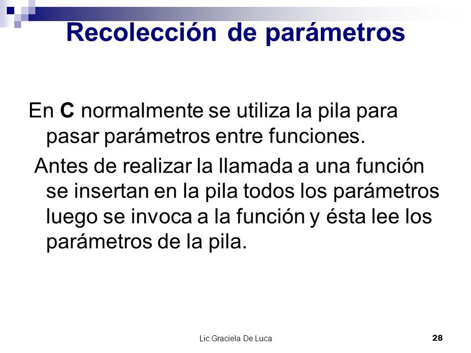 Lic.Graciela De Luca 28 Recolección de parámetros En C normalmente se utiliza la pila para pasar parámetros entre funciones. Antes de realizar la llam