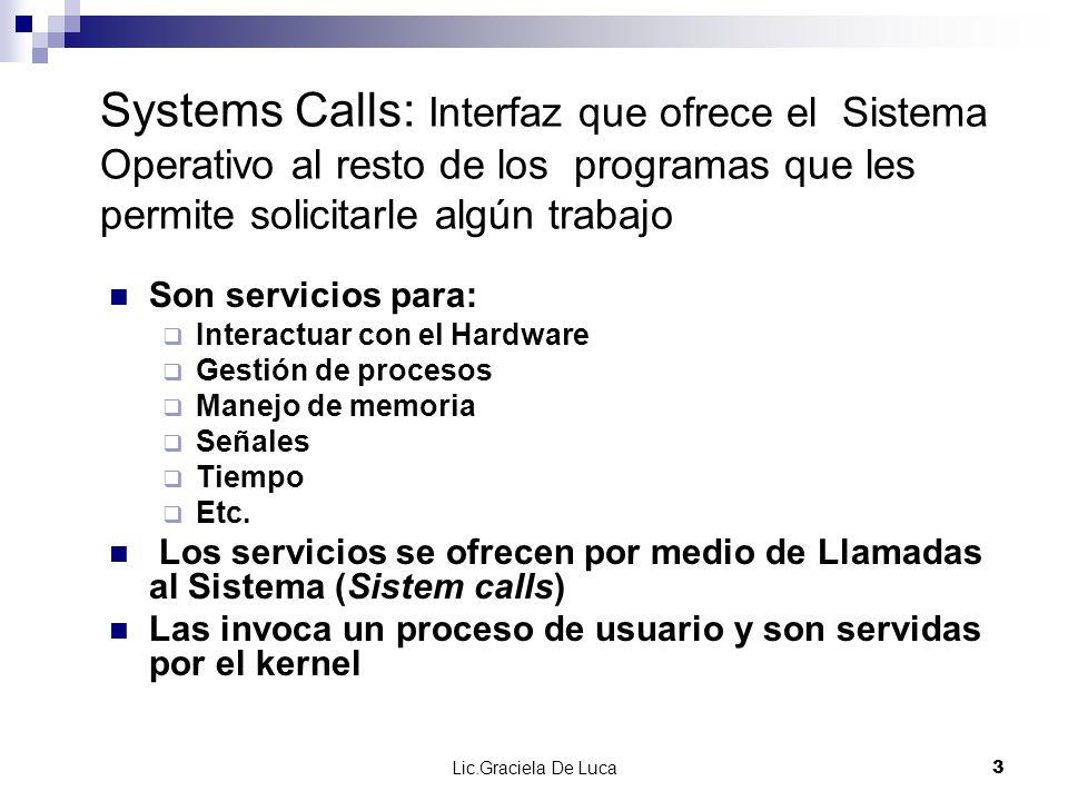 Lic.Graciela De Luca 14 Llamadas al sistema y APIs En general, las llamadas al sistema estarán encapsuladas en funciones del API de programación del sistema operativo Las funciones del API encapsulan llamadas al sistema rutinas envoltorio (wrapper routines) No necesariamente todas las funciones del API encapsulan llamadas al sistema.