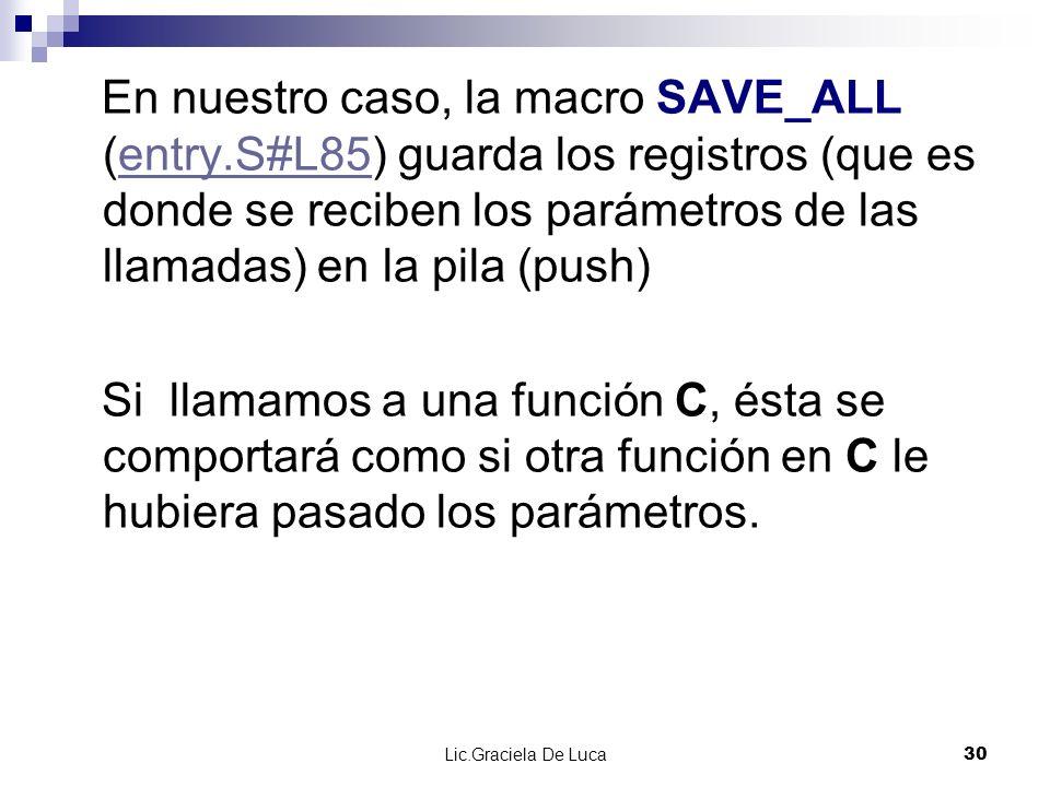 Lic.Graciela De Luca 30 En nuestro caso, la macro SAVE_ALL (entry.S#L85) guarda los registros (que es donde se reciben los parámetros de las llamadas)