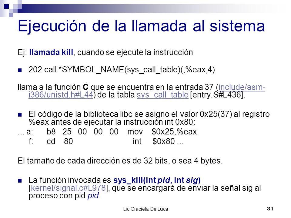 Lic.Graciela De Luca 31 Ejecución de la llamada al sistema Ej: llamada kill, cuando se ejecute la instrucción 202 call *SYMBOL_NAME(sys_call_table)(,%