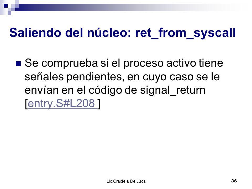 Lic.Graciela De Luca 36 Saliendo del núcleo: ret_from_syscall Se comprueba si el proceso activo tiene señales pendientes, en cuyo caso se le envían en