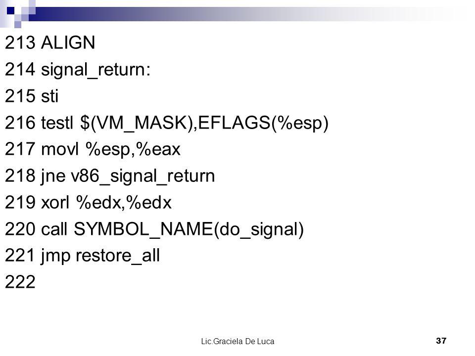 Lic.Graciela De Luca 37 213 ALIGN 214 signal_return: 215 sti 216 testl $(VM_MASK),EFLAGS(%esp) 217 movl %esp,%eax 218 jne v86_signal_return 219 xorl %