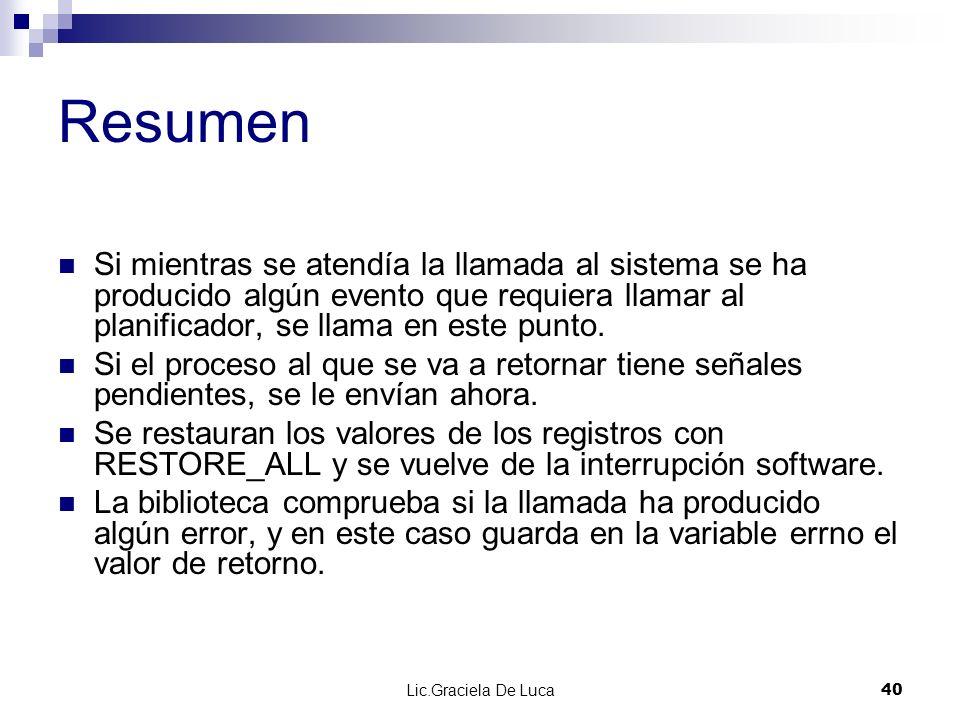 Lic.Graciela De Luca 40 Resumen Si mientras se atendía la llamada al sistema se ha producido algún evento que requiera llamar al planificador, se llam