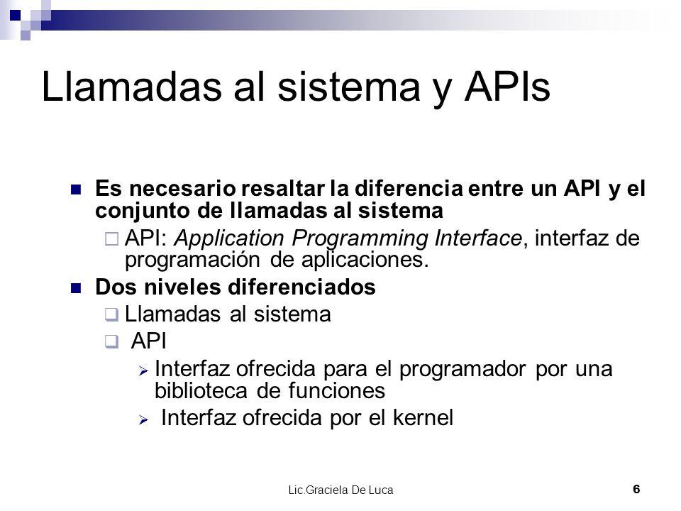 Lic.Graciela De Luca 6 Llamadas al sistema y APIs Es necesario resaltar la diferencia entre un API y el conjunto de llamadas al sistema API: Applicati