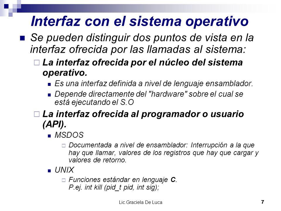 Lic.Graciela De Luca 8 Interfaz ofrecida por el núcleo El núcleo de Linux, en IA32, utiliza la instrucción int 0x80 como puerta de entrada en el núcleo.