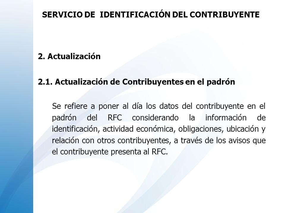 2. Actualización 2.1. Actualización de Contribuyentes en el padrón Se refiere a poner al día los datos del contribuyente en el padrón del RFC consider