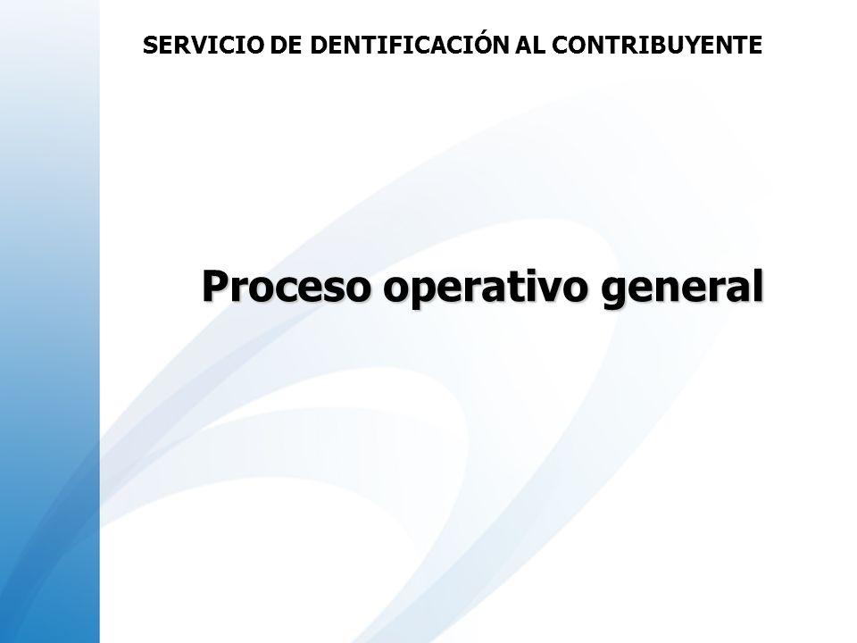 Proceso operativo general SERVICIO DE DENTIFICACIÓN AL CONTRIBUYENTE