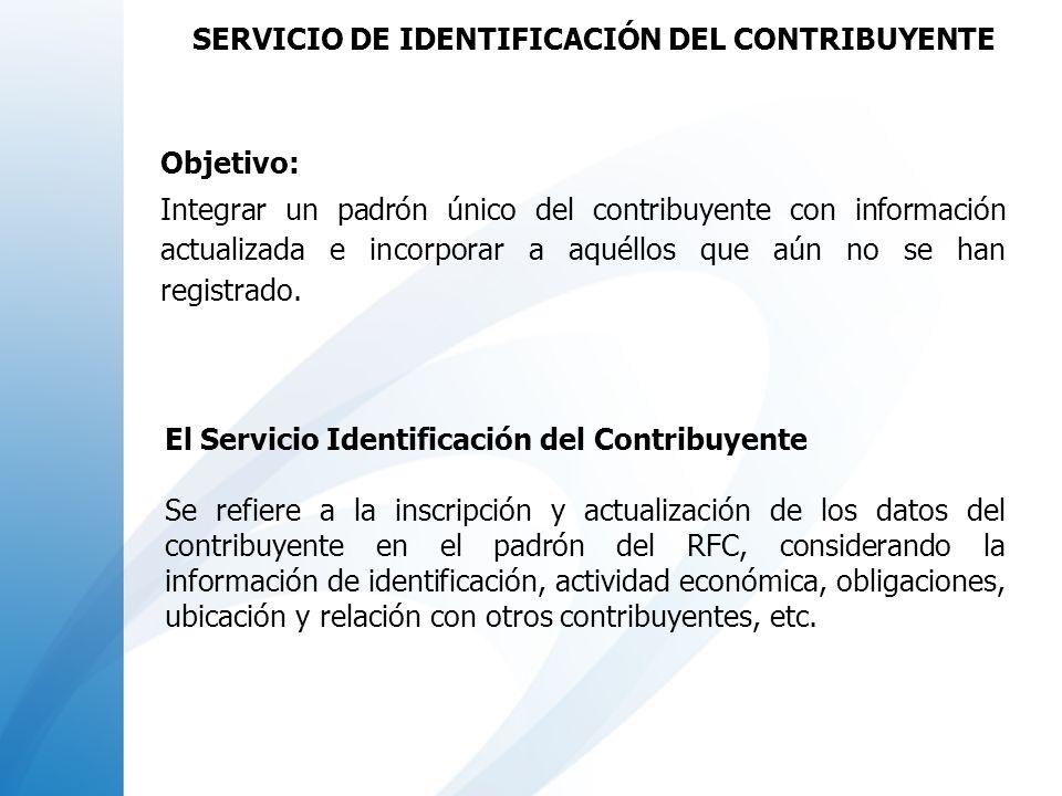 Objetivo: Integrar un padrón único del contribuyente con información actualizada e incorporar a aquéllos que aún no se han registrado. SERVICIO DE IDE