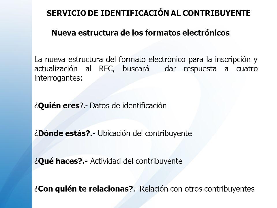 Personales y remotos para que los contribuyentes realicen inscripciones y actualizaciones al RFC 1.- Internet (autoservicio) Precaptura de su solicitud de inscripción al RFC y concluye en el Módulo de Atención del SAT, para efectos de entregar la documentación comprobatoria Envío de trámites de actualización al padrón de contribuyentes, SERVICIO DE IDENTIFICACIÓN DEL CONTRIBUYENTE CANALES DE ATENCIÓN