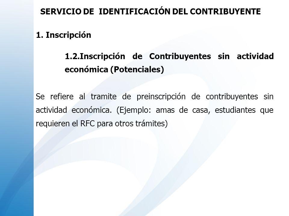 Modalidades de atención para los casos de inscripción al Registro Federal de Contribuyentes : 1.