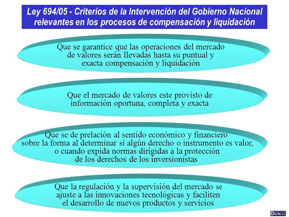 Ley 694/05 - Criterios de la Intervención del Gobierno Nacional relevantes en los procesos de compensación y liquidación Que la regulación y la superv