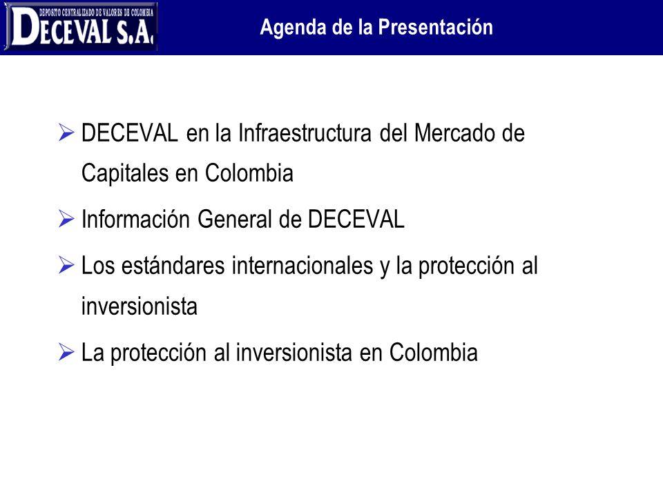 DECEVAL en la Infraestructura del Mercado de Capitales en Colombia Información General de DECEVAL Los estándares internacionales y la protección al in