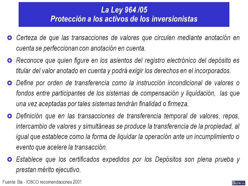 La Ley 964 /05 Protección a los activos de los inversionistas £ Certeza de que las transacciones de valores que circulen mediante anotación en cuenta