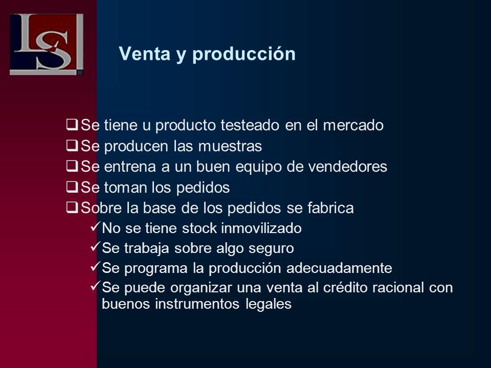 Venta y producción Se tiene u producto testeado en el mercado Se producen las muestras Se entrena a un buen equipo de vendedores Se toman los pedidos