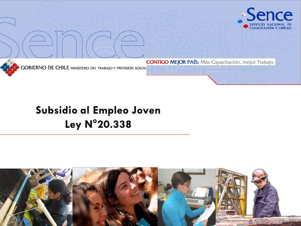FORTALECIMIENTO SISTEMA PÚBLICO DE INTERMEDIACIÓN Contexto de la Ley 20.338 (1/2) El Gobierno de Chile entrega un beneficio a los(as) trabajadores(as) jóvenes dependientes, sus empleadores(as) y a los(as) trabajadores(as) independientes, con lo que se mejora el sueldo de los jóvenes y se da una mano a quienes los(as) contratan.