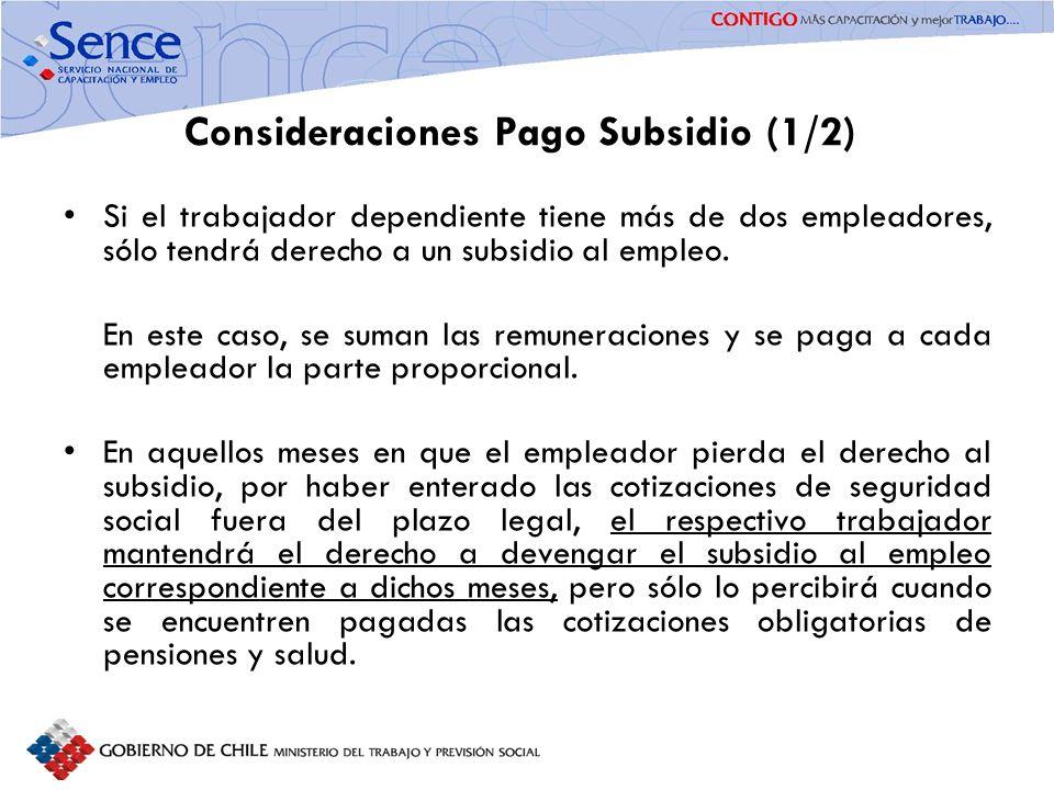 Consideraciones Pago Subsidio (1/2) Si el trabajador dependiente tiene más de dos empleadores, sólo tendrá derecho a un subsidio al empleo. En este ca