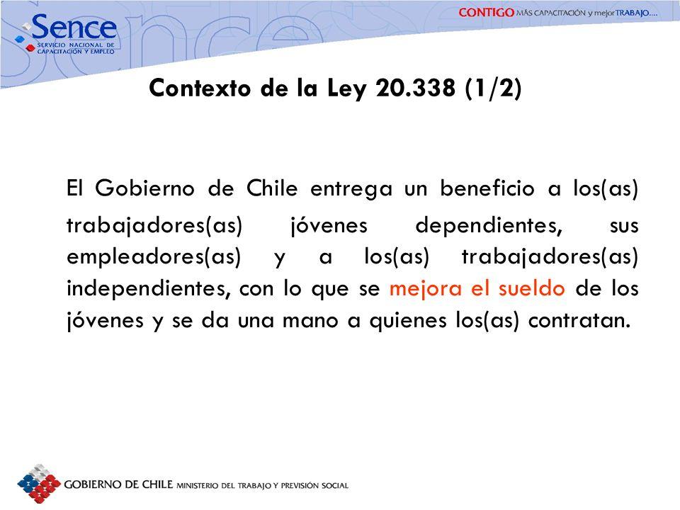FORTALECIMIENTO SISTEMA PÚBLICO DE INTERMEDIACIÓN Contexto de la Ley 20.338 (1/2) El Gobierno de Chile entrega un beneficio a los(as) trabajadores(as)