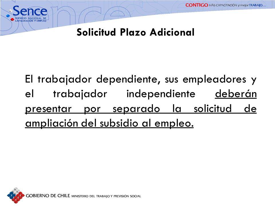 Solicitud Plazo Adicional El trabajador dependiente, sus empleadores y el trabajador independiente deberán presentar por separado la solicitud de ampl