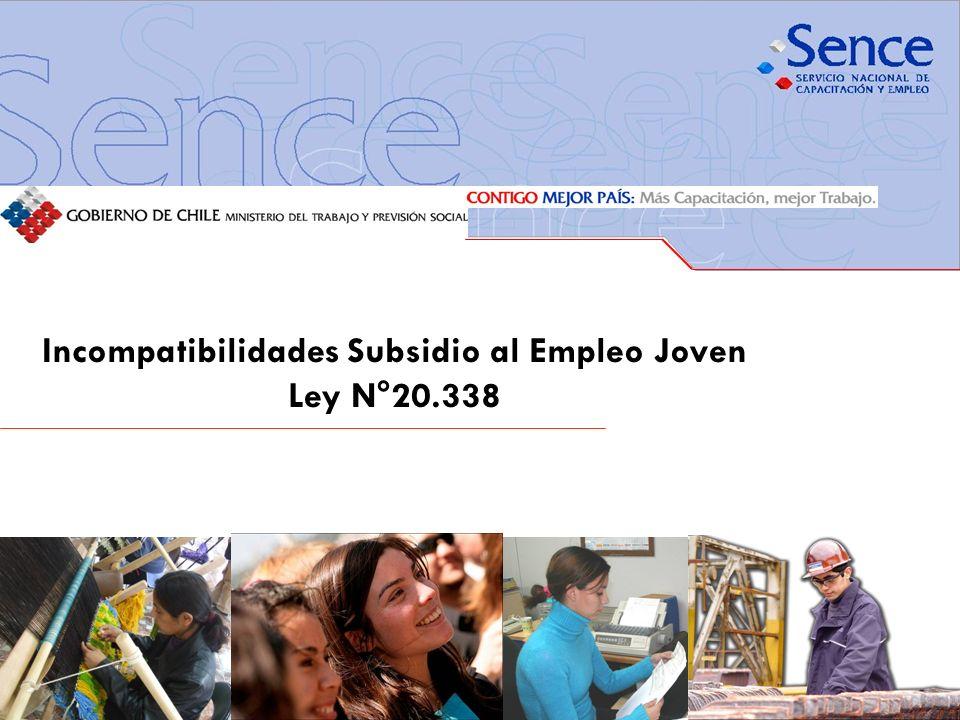 Incompatibilidades Subsidio al Empleo Joven Ley N°20.338