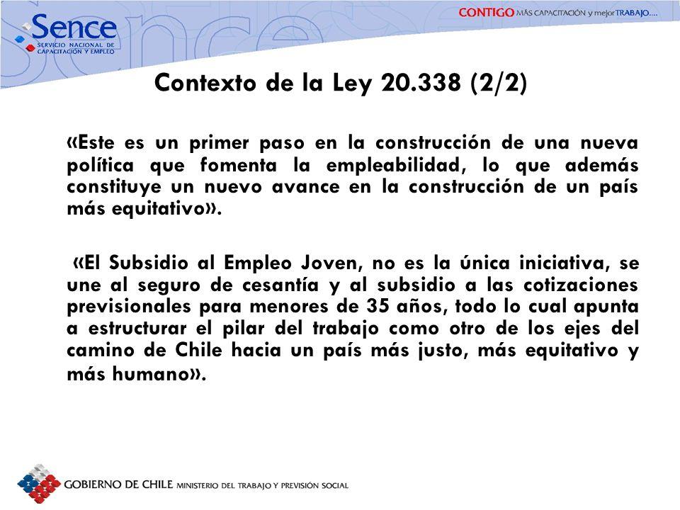 FORTALECIMIENTO SISTEMA PÚBLICO DE INTERMEDIACIÓN Contexto de la Ley 20.338 (2/2) «Este es un primer paso en la construcción de una nueva política que