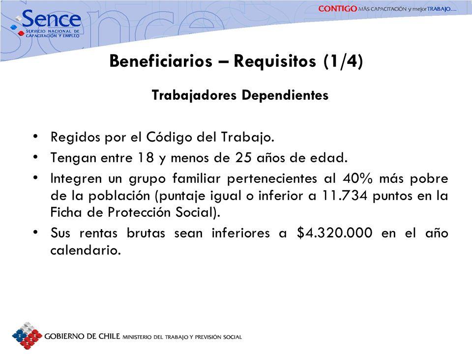 FORTALECIMIENTO SISTEMA PÚBLICO DE INTERMEDIACIÓN Beneficiarios – Requisitos (1/4) Trabajadores Dependientes Regidos por el Código del Trabajo. Tengan