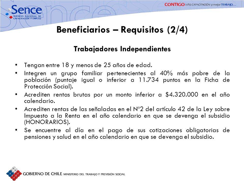 FORTALECIMIENTO SISTEMA PÚBLICO DE INTERMEDIACIÓN Beneficiarios – Requisitos (3/4) Empleadores (Trabajadores Dependientes) Regidos por el Código del Trabajo.