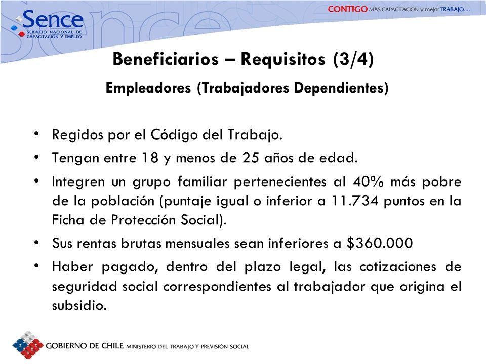 FORTALECIMIENTO SISTEMA PÚBLICO DE INTERMEDIACIÓN Beneficiarios – Requisitos (3/4) Empleadores (Trabajadores Dependientes) Regidos por el Código del T