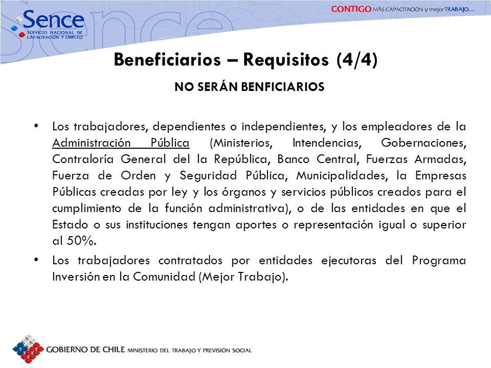 FORTALECIMIENTO SISTEMA PÚBLICO DE INTERMEDIACIÓN Beneficiarios – Requisitos (4/4) NO SERÁN BENFICIARIOS Los trabajadores, dependientes o independient