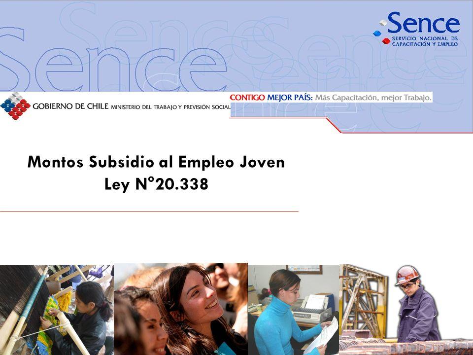 Montos Subsidio al Empleo Joven Ley N°20.338