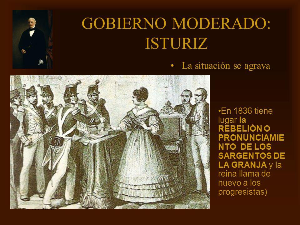 Mª Victoria Landa GOBIERNO MODERADO: ISTURIZ La situación se agrava En 1836 tiene lugar la REBELIÓN O PRONUNCIAMIE NTO DE LOS SARGENTOS DE LA GRANJA y