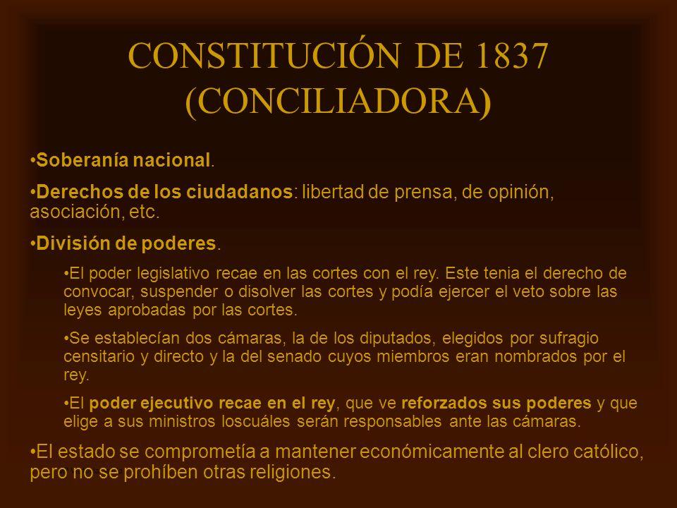 Mª Victoria Landa CONSTITUCIÓN DE 1837 (CONCILIADORA) Soberanía nacional. Derechos de los ciudadanos: libertad de prensa, de opinión, asociación, etc.