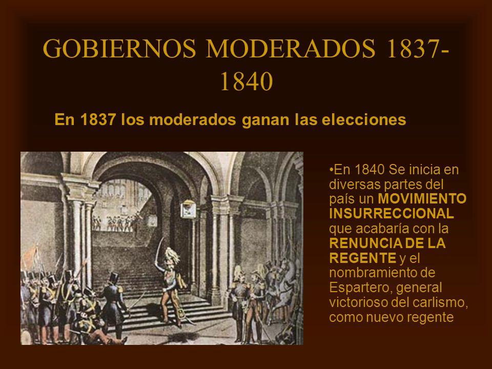 Mª Victoria Landa GOBIERNOS MODERADOS 1837- 1840 En 1837 los moderados ganan las elecciones En 1840 Se inicia en diversas partes del país un MOVIMIENT