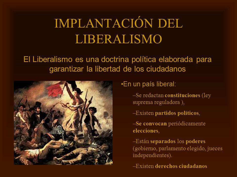 Mª Victoria Landa IMPLANTACIÓN DEL LIBERALISMO El Liberalismo es una doctrina política elaborada para garantizar la libertad de los ciudadanos En un p