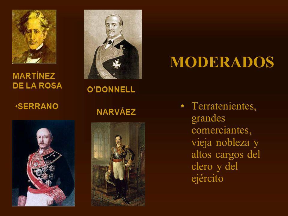Mª Victoria Landa MODERADOS Terratenientes, grandes comerciantes, vieja nobleza y altos cargos del clero y del ejército SERRANO ODONNELL NARVÁEZ MARTÍ