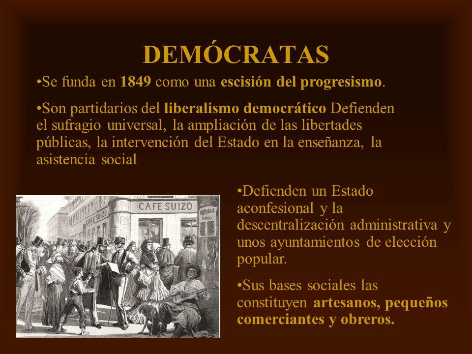 Mª Victoria Landa DEMÓCRATAS Se funda en 1849 como una escisión del progresismo. Son partidarios del liberalismo democrático Defienden el sufragio uni