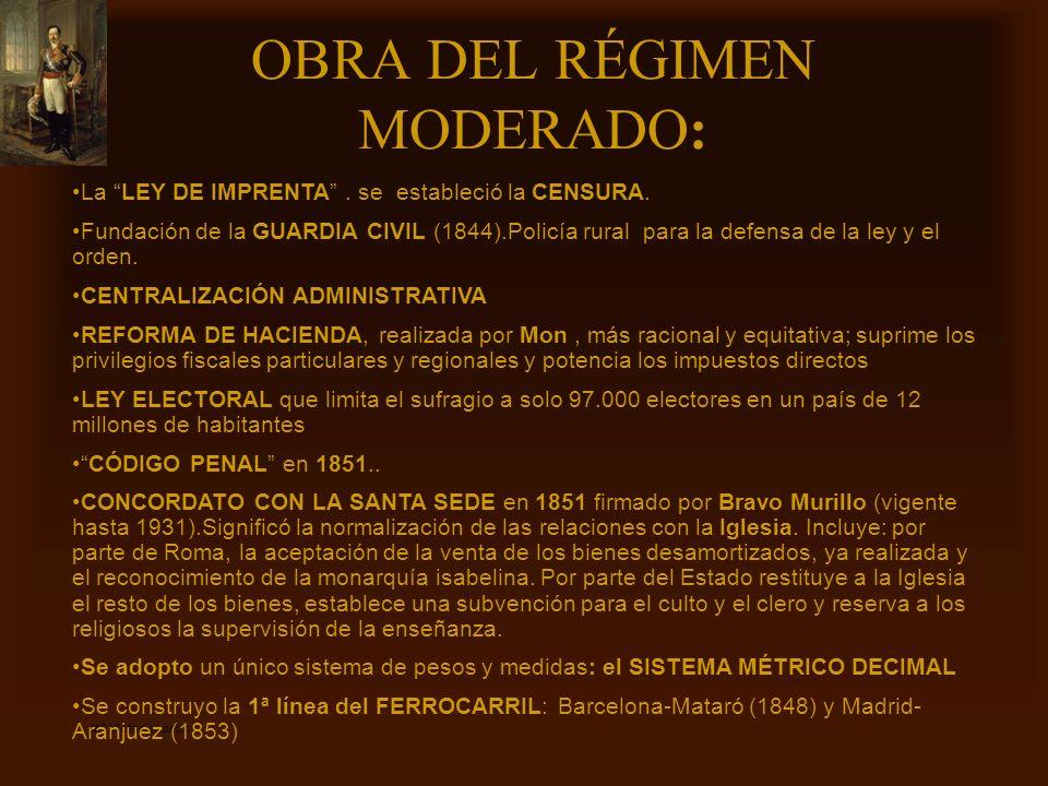 Mª Victoria Landa OBRA DEL RÉGIMEN MODERADO: La LEY DE IMPRENTA. se estableció la CENSURA. Fundación de la GUARDIA CIVIL (1844).Policía rural para la
