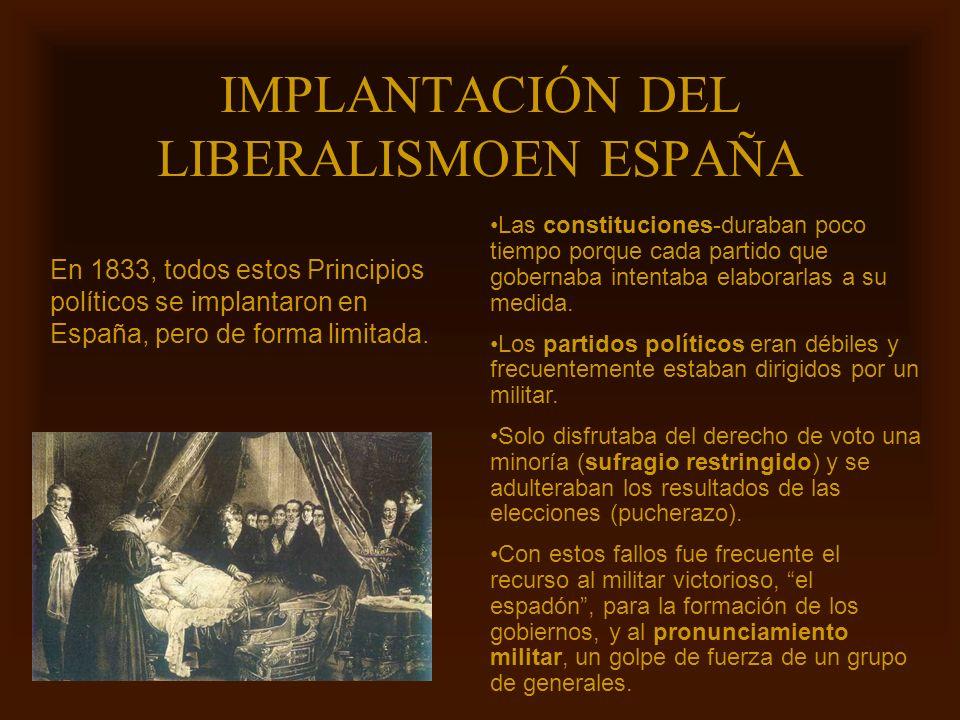 Mª Victoria Landa IMPLANTACIÓN DEL LIBERALISMOEN ESPAÑA En 1833, todos estos Principios políticos se implantaron en España, pero de forma limitada. La