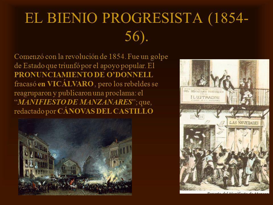 Mª Victoria Landa EL BIENIO PROGRESISTA (1854- 56). Comenzó con la revolución de 1854. Fue un golpe de Estado que triunfó por el apoyo popular. El PRO
