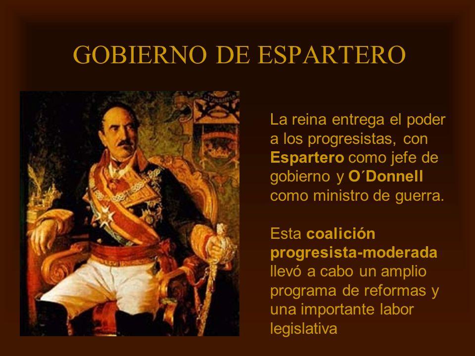 Mª Victoria Landa GOBIERNO DE ESPARTERO La reina entrega el poder a los progresistas, con Espartero como jefe de gobierno y O´Donnell como ministro de