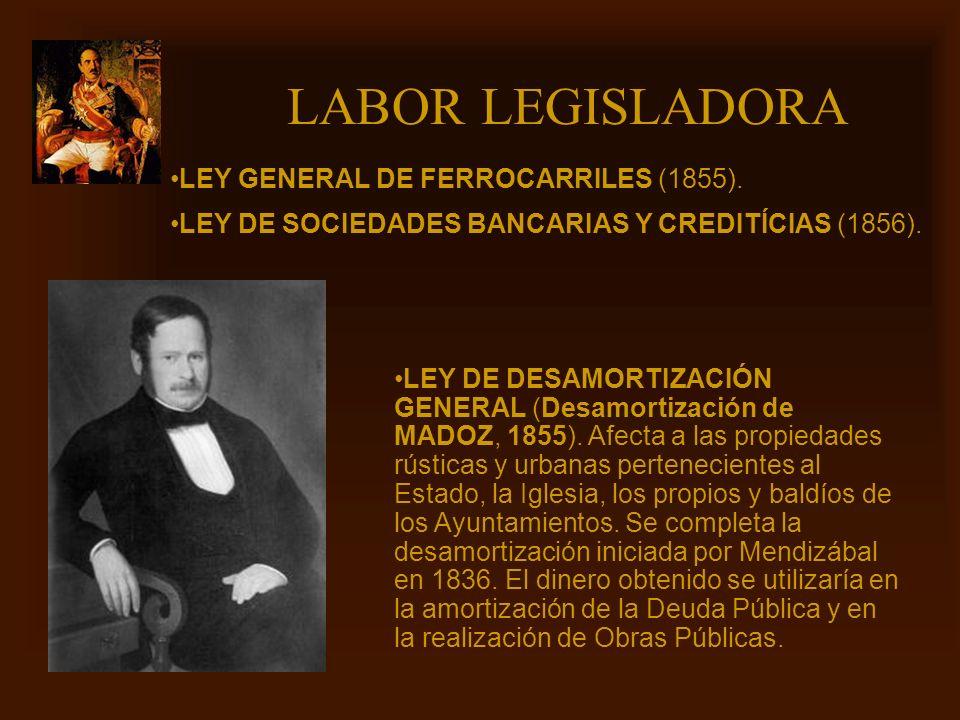 Mª Victoria Landa LABOR LEGISLADORA LEY DE DESAMORTIZACIÓN GENERAL (Desamortización de MADOZ, 1855). Afecta a las propiedades rústicas y urbanas perte